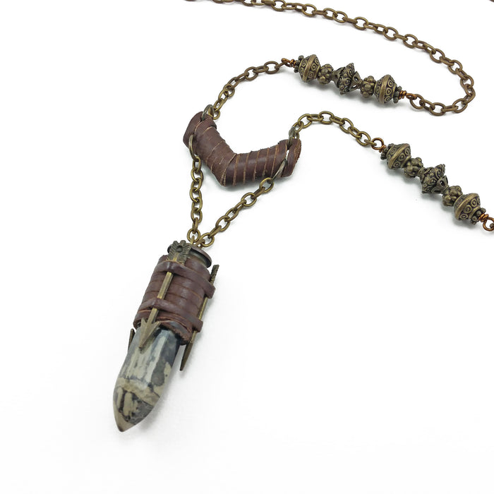 bullet casing necklace with deerskin leather and picasso jasper