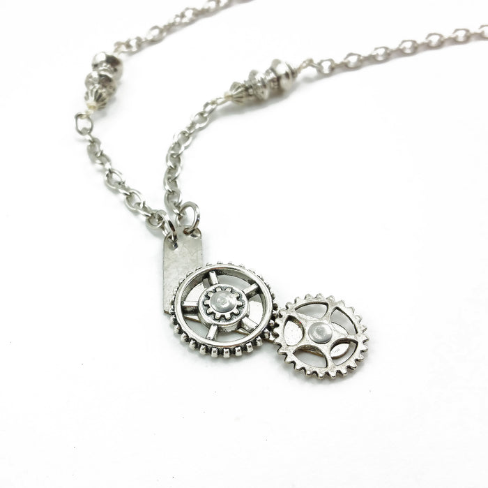spinning gear steampunk necklace
