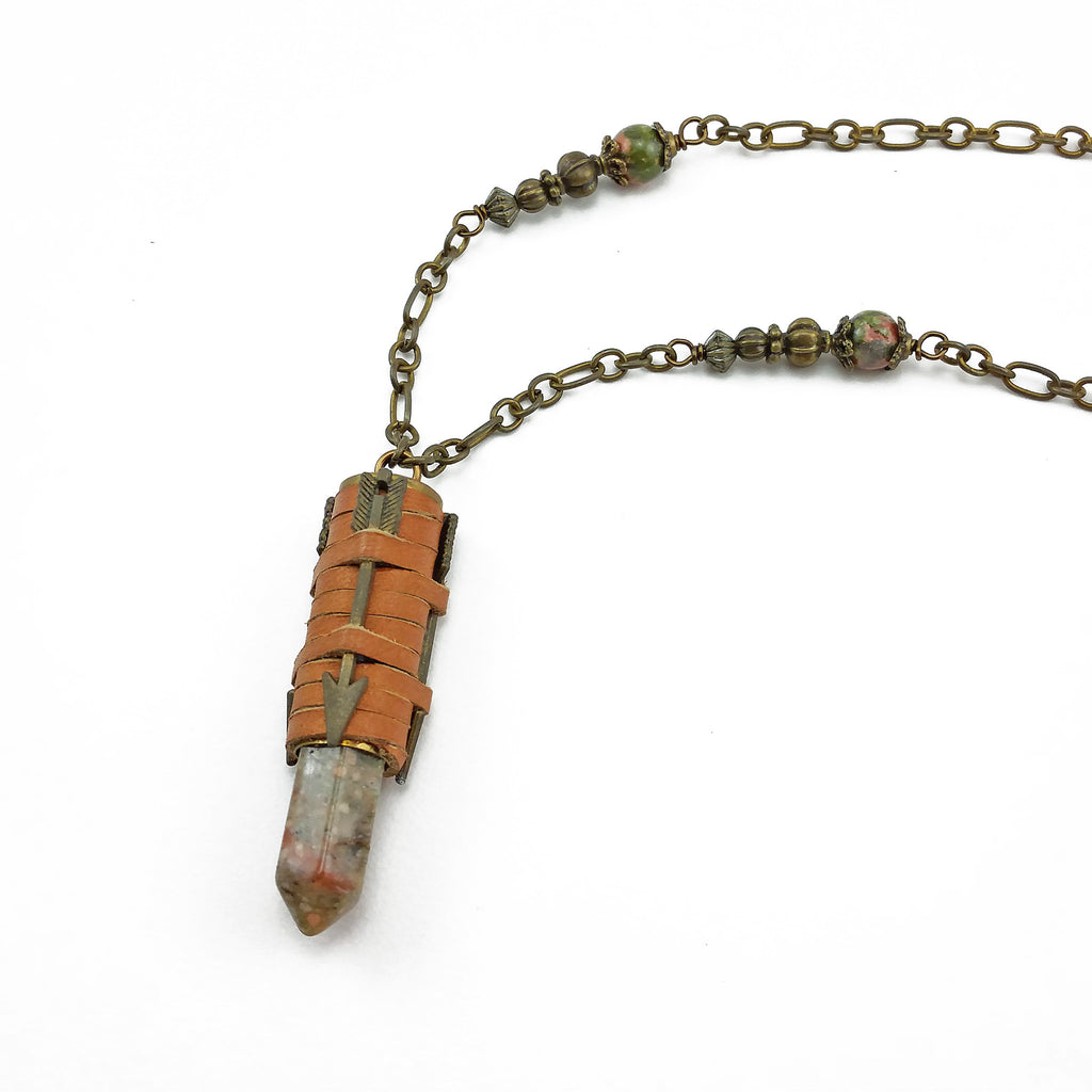 recycled bullet necklace with unakite