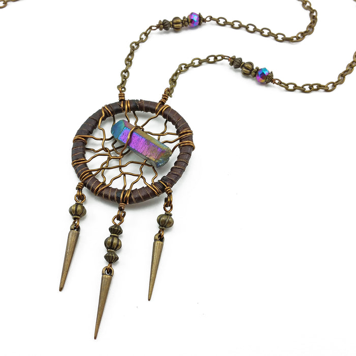 bohemian dreamcatcher necklace with vibrant rainbow quartz