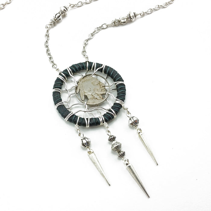 buffalo nickel coin dreamcatcher necklace