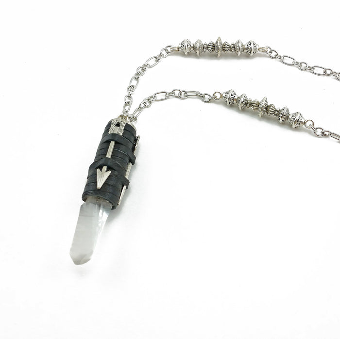bullet casing necklace with deerskin leather and quartz