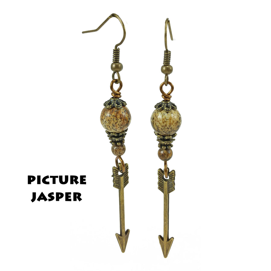 Gemstone Brass Arrow Earrings