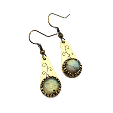 Brass Vine Earrings with Labradorite