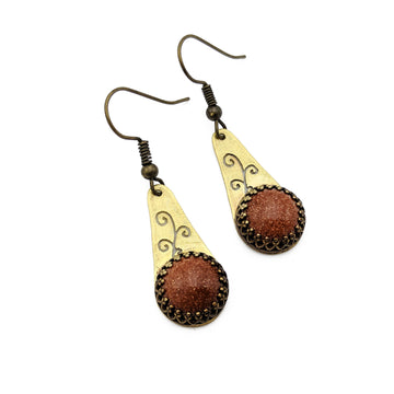 Brass Vine Earrings with Goldstone