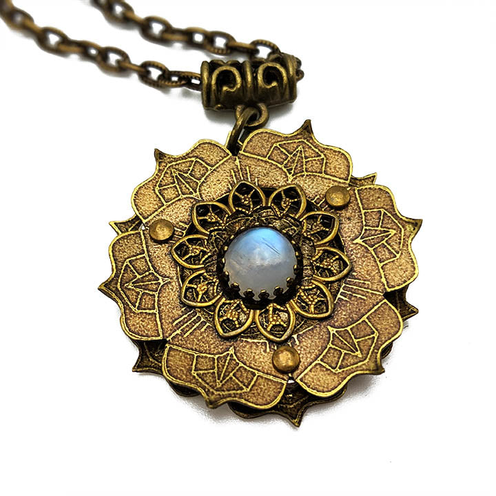 etched flower mandala necklace with moonstone