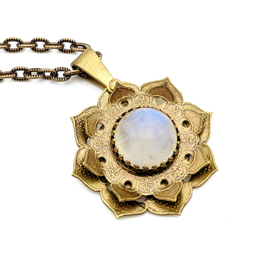 spinning flower mandala necklace with moonstone