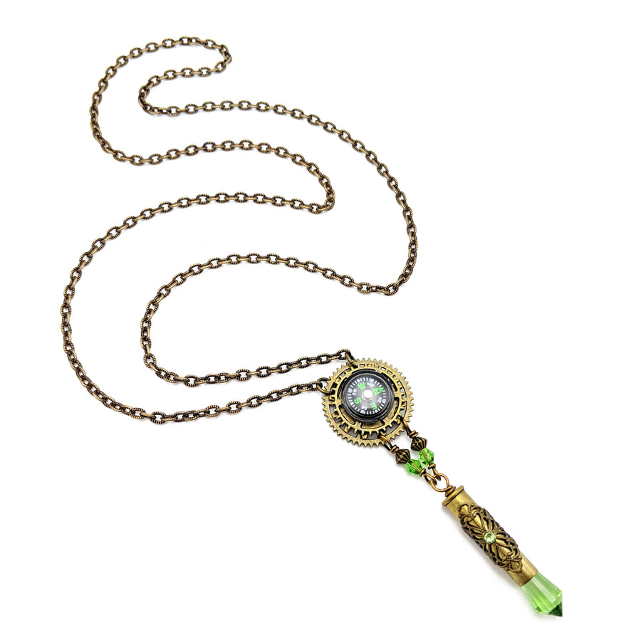 functional compass necklace with Egyptian quartz