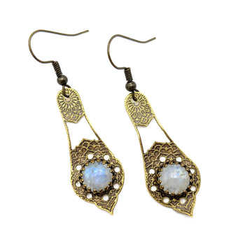 Etched Brass and Moonstone Earrings