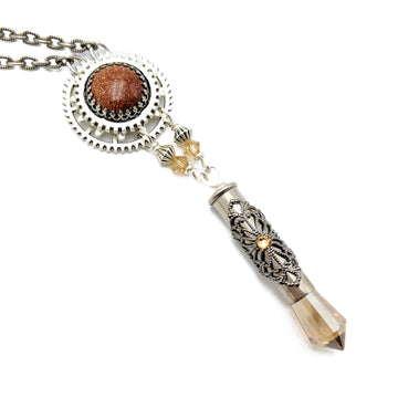 industrial gear necklace with goldstone