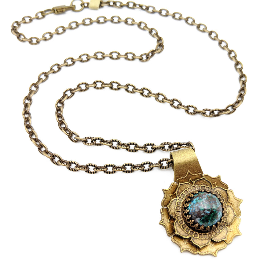etched flower mandala necklace with chrysocolla