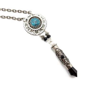 industrial gear necklace with turquoise