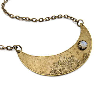 mountains under the moon crescent necklace
