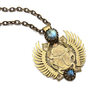 egyptian scarab necklace with labradorite