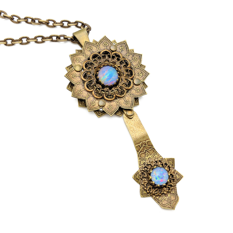 etched flower mandala necklace with opal
