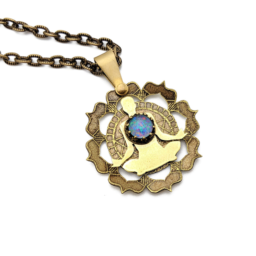 etched meditation mandala necklace with opal