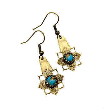Etched Brass and Copper Turquoise Earrings