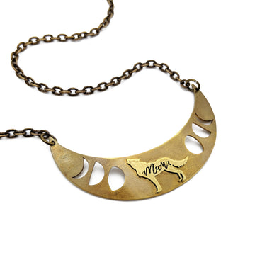 *RESERVED FOR LILY* mama wolf crescent necklace