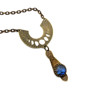 bohemian etched necklace with labradorite