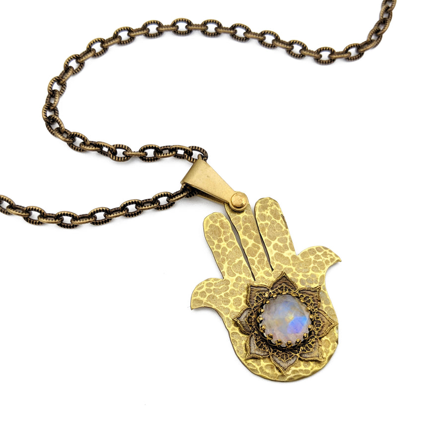 hammered hamsa necklace with rainbow moonstone