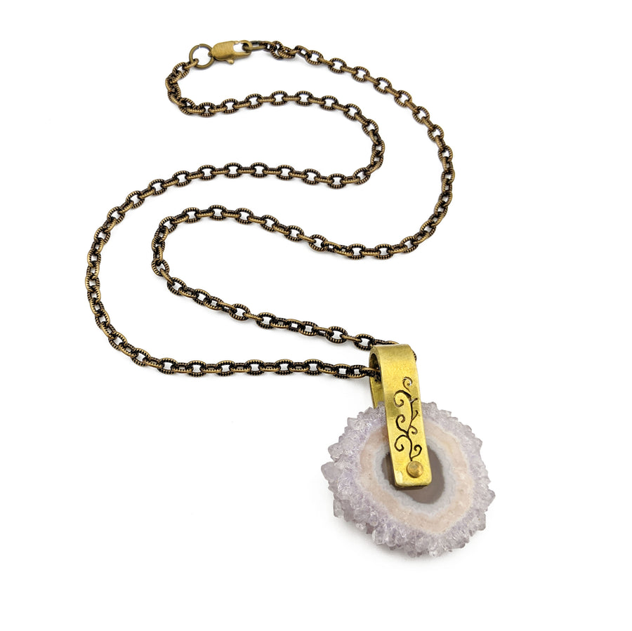spinning amethyst stalactite necklace