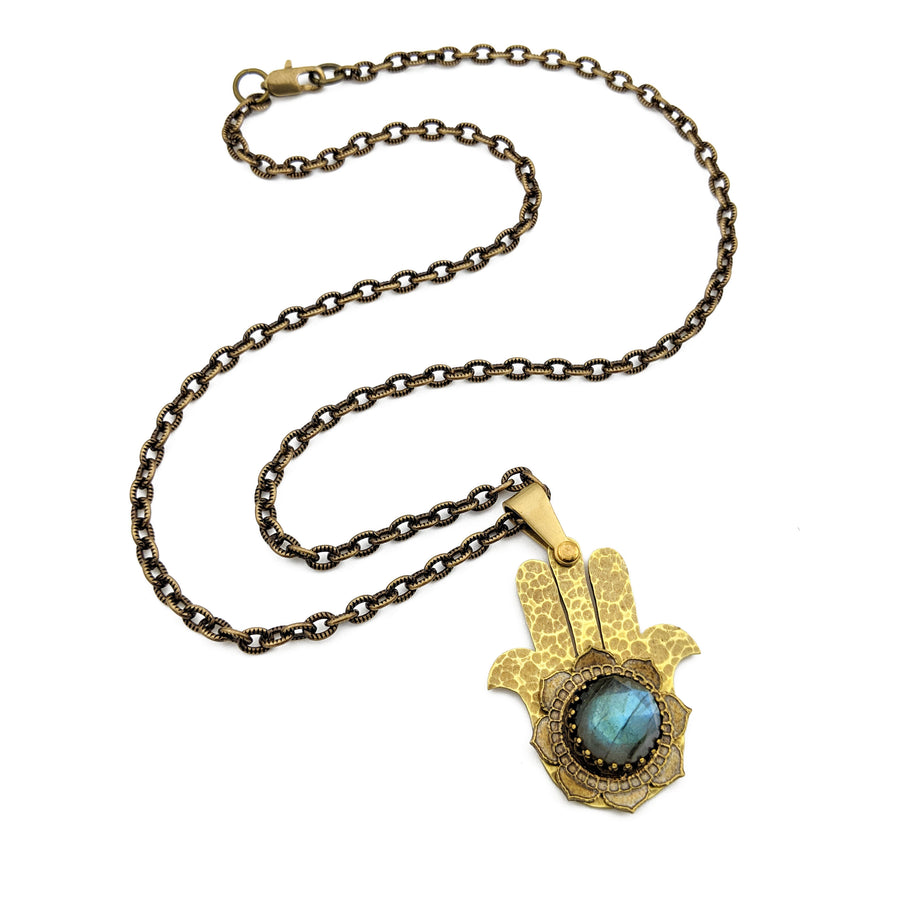 hammered hamsa necklace with labradorite