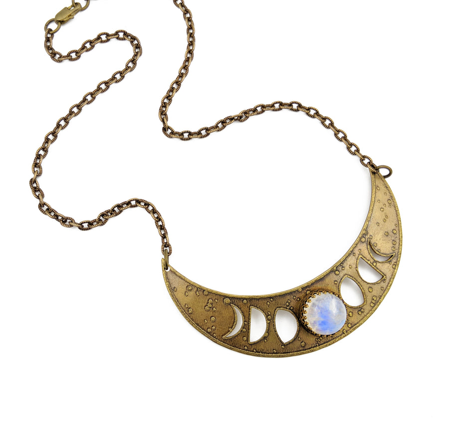 lunar phases crescent necklace with rainbow moonstone