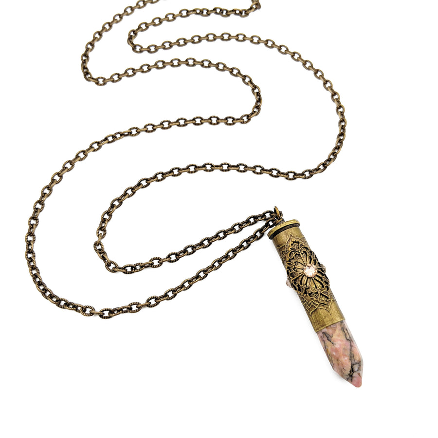 elegant etched bullet casing necklace with rhodonite