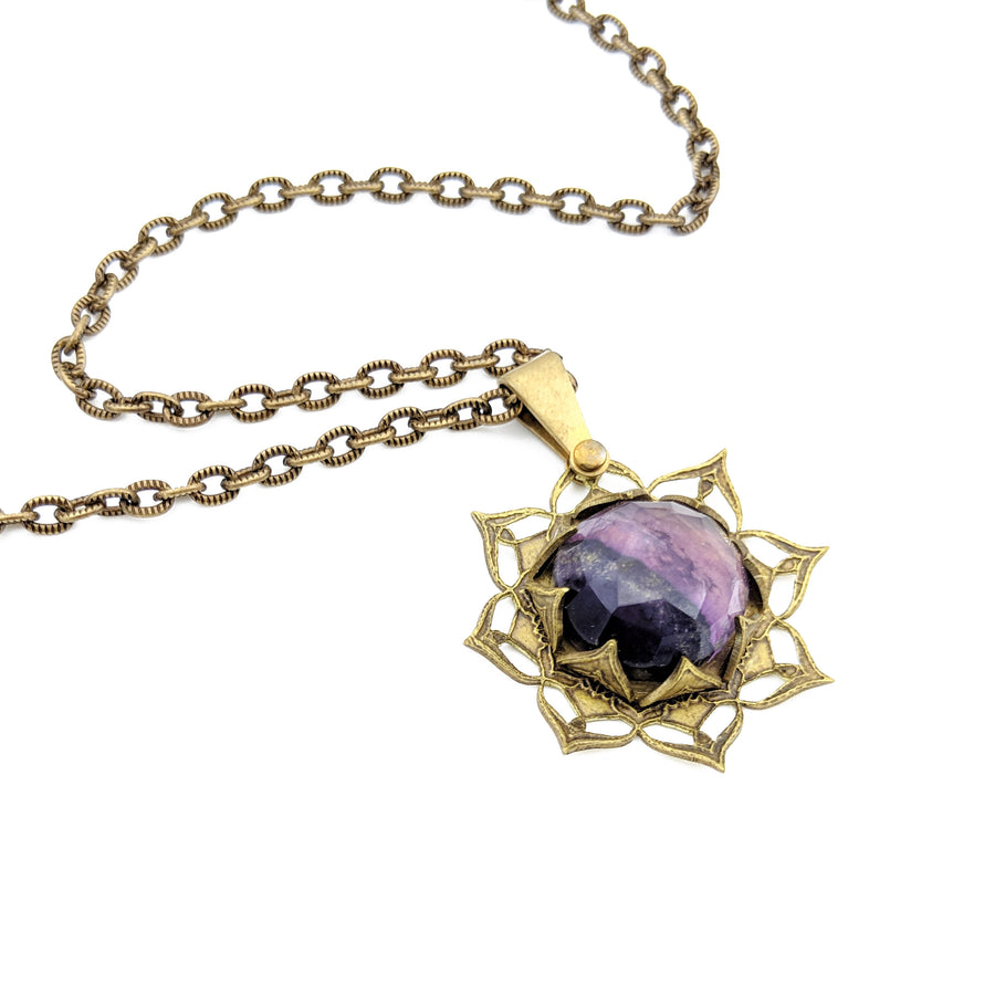 etched flower mandala necklace with fluorite