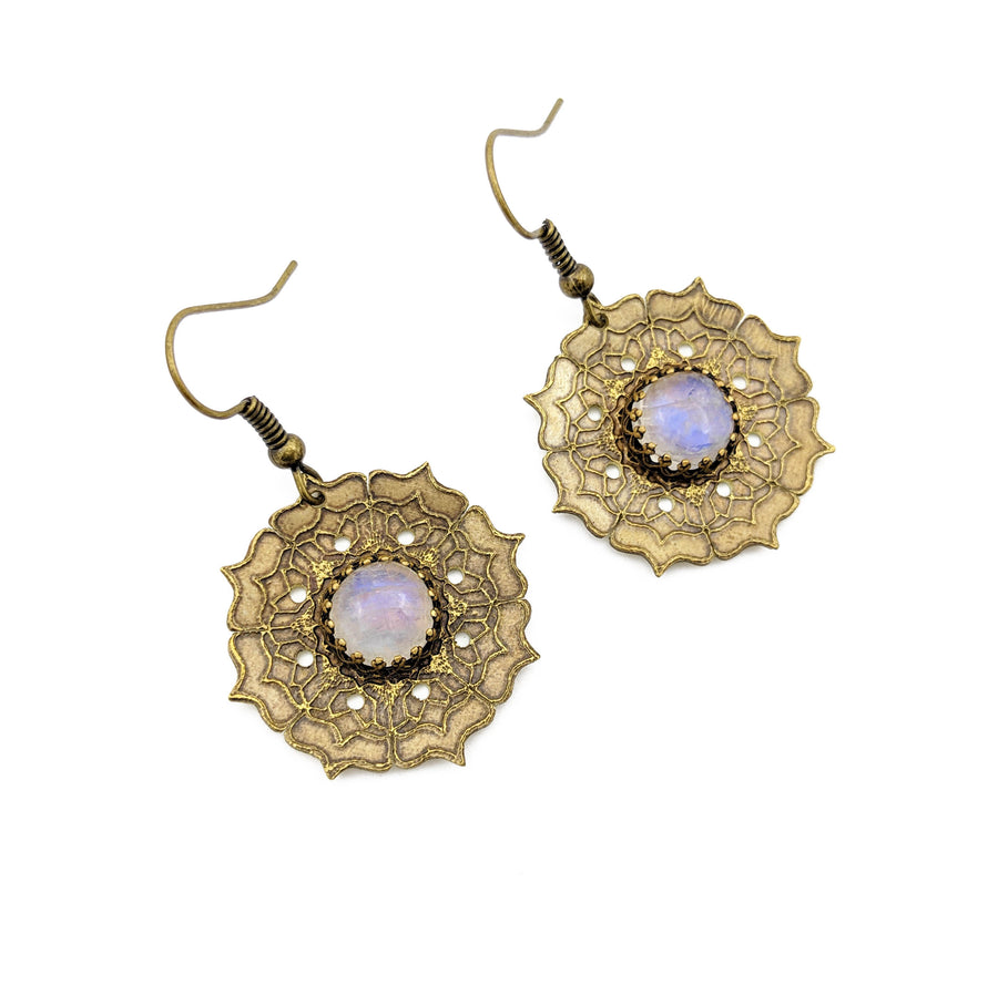 Flower Mandala Earrings with rainbow moonstone