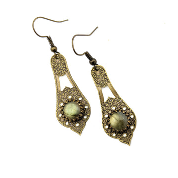 Etched Brass and labradorite Earrings