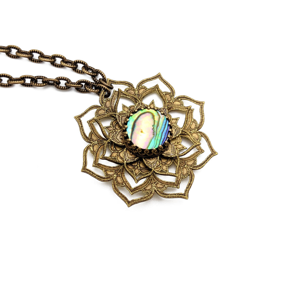 spinning flower mandala necklace with abalone