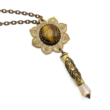 blooming flower mandala necklace with tiger eye