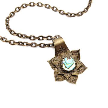 etched flower mandala necklace with abalone