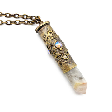 357 magnum etched bullet casing necklace with crazy lace agate