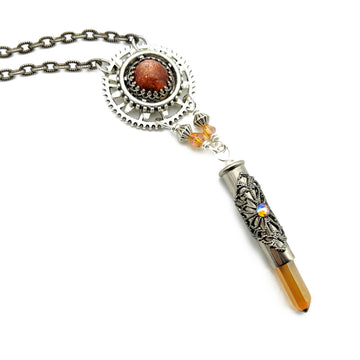 industrial gear necklace with sunstone and tangerine quartz
