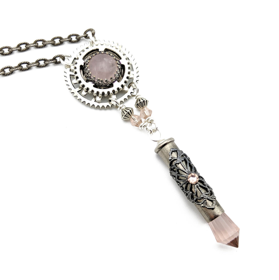 industrial gear necklace with rose quartz