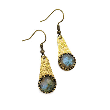Brass and Labradorite Earrings