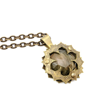 etched flower mandala necklace with spectrolite