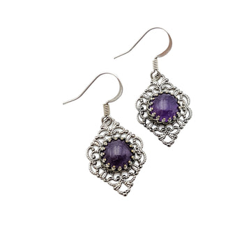 Silver Filigree and Amethyst Earrings