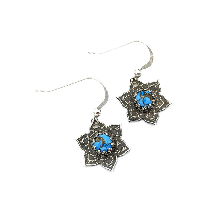 sterling silver mandala earrings with turquoise