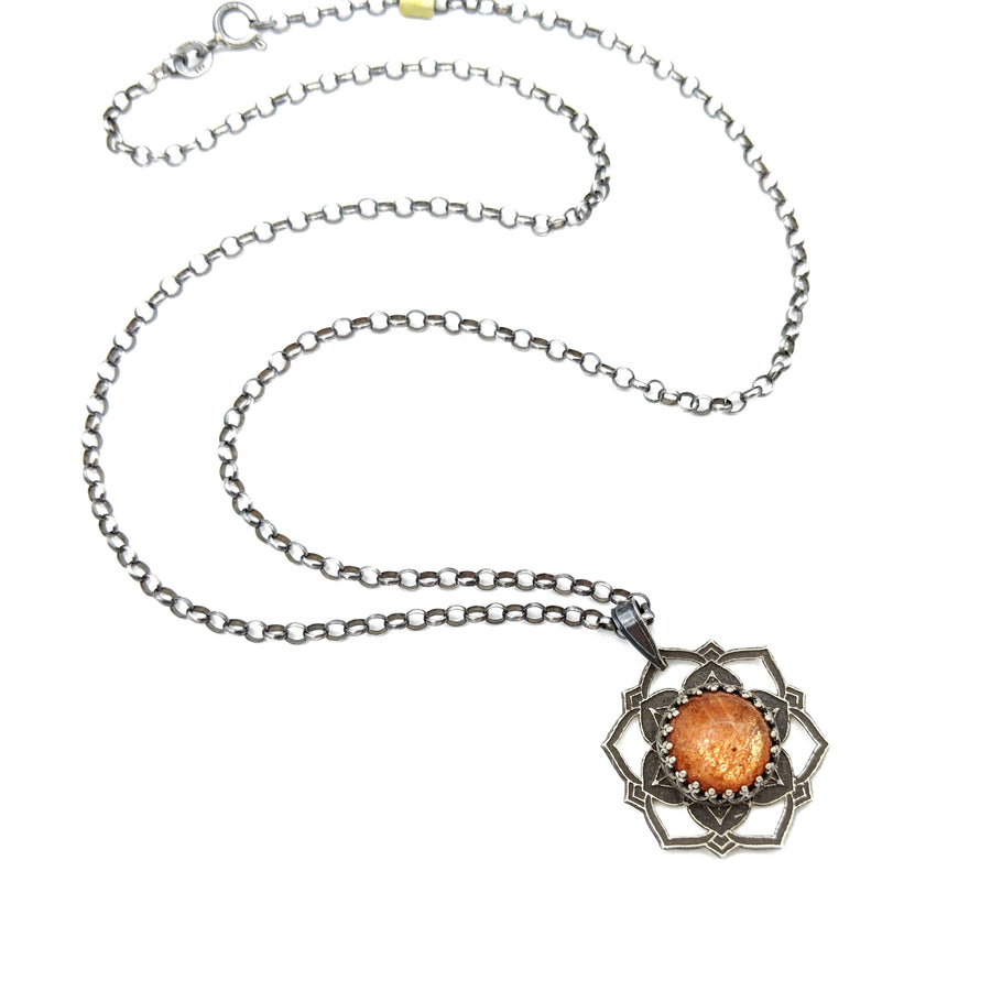sterling silver flower mandala necklace with sunstone