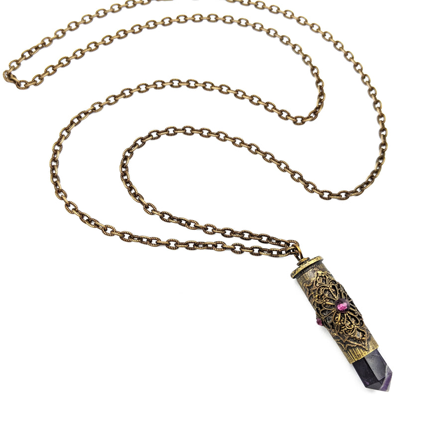 38 special etched bullet casing necklace with amethyst