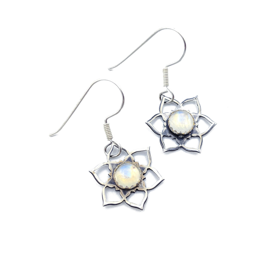 sterling silver mandala earrings with moonstone