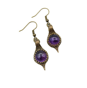 Brass and Amethyst Earrings
