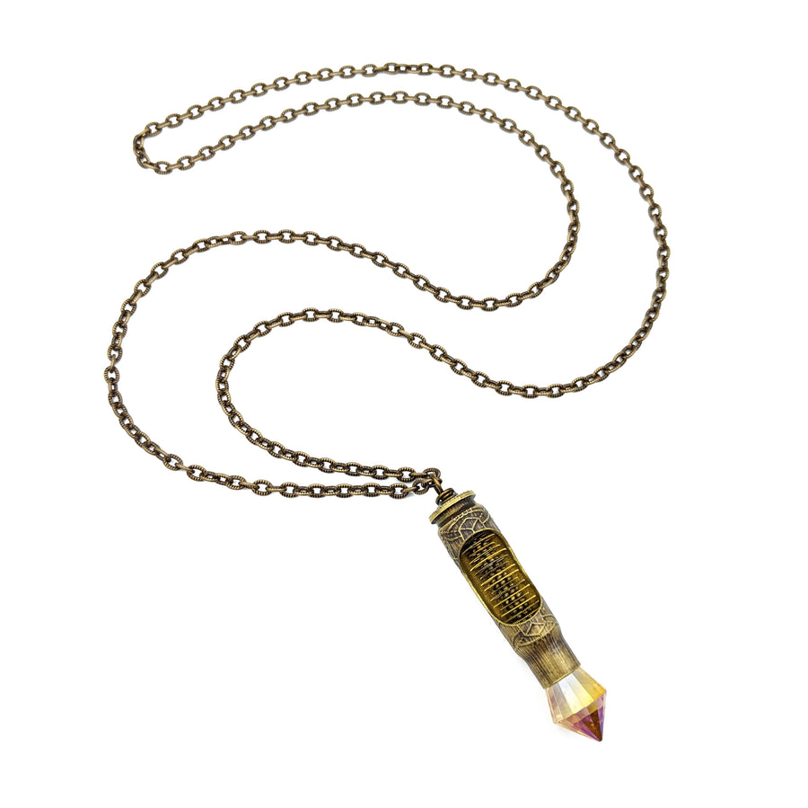 etched bullet necklace with spinning watch gears