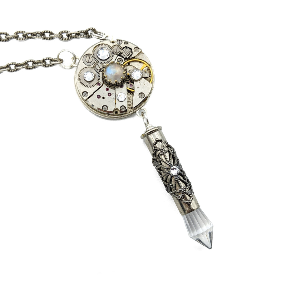 elegant recycled watch movement necklace with moonstone