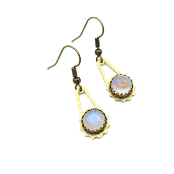 hammered Brass and Moonstone Earrings