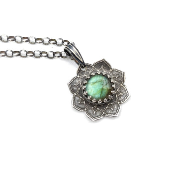 simple sterling silver flower mandala necklace with labradorite