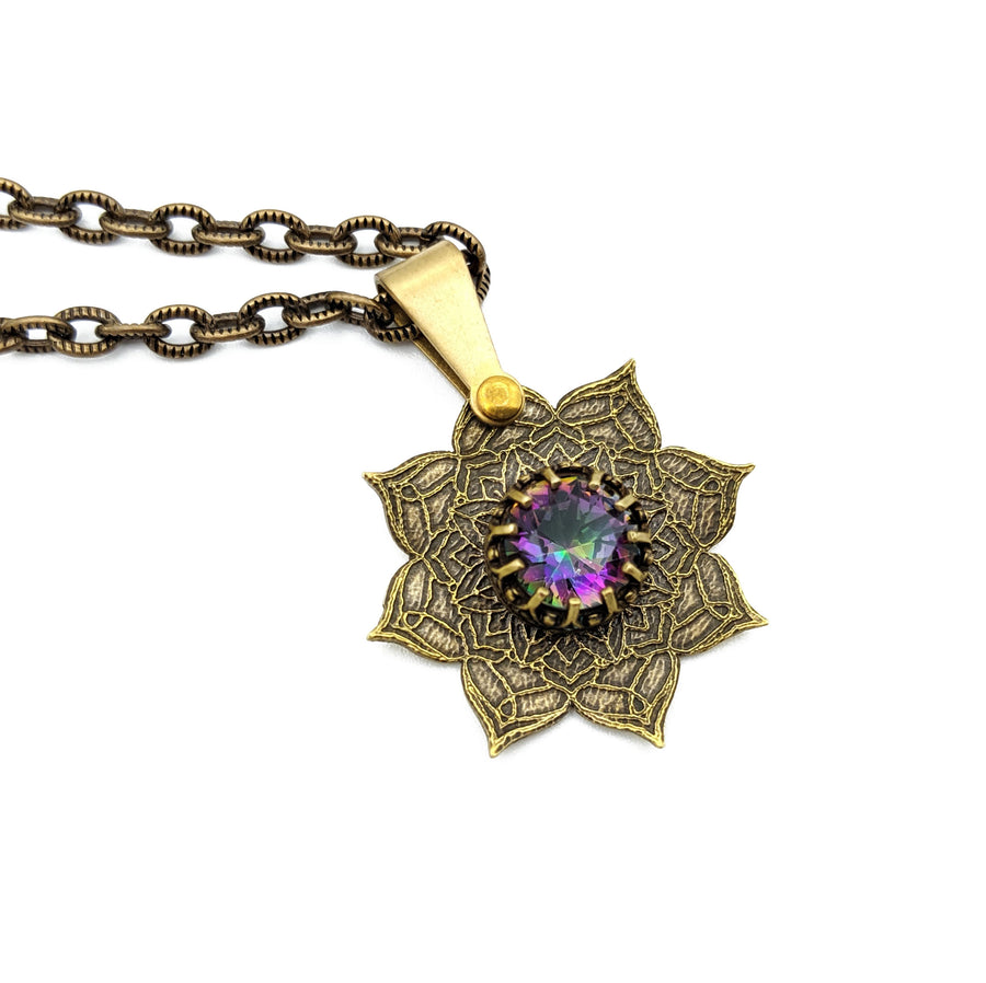 etched flower mandala necklace with mystic topaz